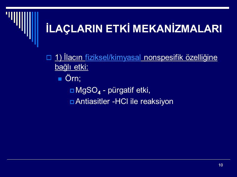 10 İLAÇLARIN ETKİ MEKANİZMALARI  1) İlacın fiziksel/kimyasal nonspesifik özelliğine bağlı etki: Örn;  MgSO 4 - pürgatif etki,  Antiasitler -HCl ile reaksiyon