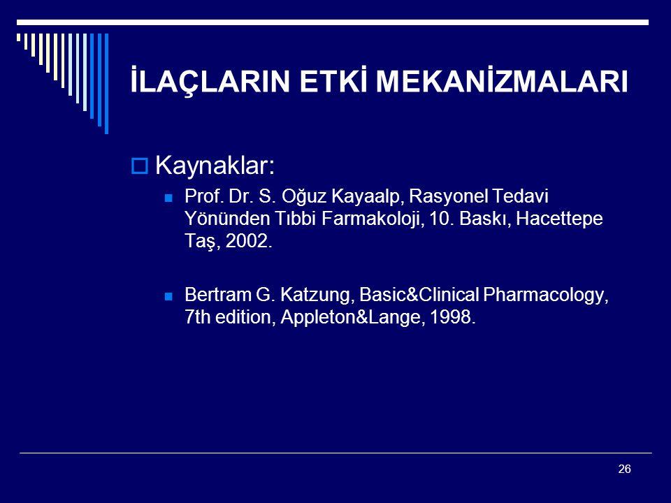 26 İLAÇLARIN ETKİ MEKANİZMALARI  Kaynaklar: Prof. Dr. S. Oğuz Kayaalp, Rasyonel Tedavi Yönünden Tıbbi Farmakoloji, 10. Baskı, Hacettepe Taş, 2002. Be
