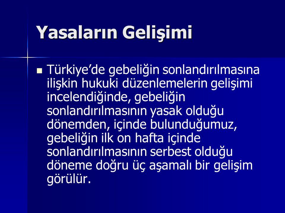 Yasaların Gelişimi Türkiye'de gebeliğin sonlandırılmasına ilişkin hukuki düzenlemelerin gelişimi incelendiğinde, gebeliğin sonlandırılmasının yasak ol