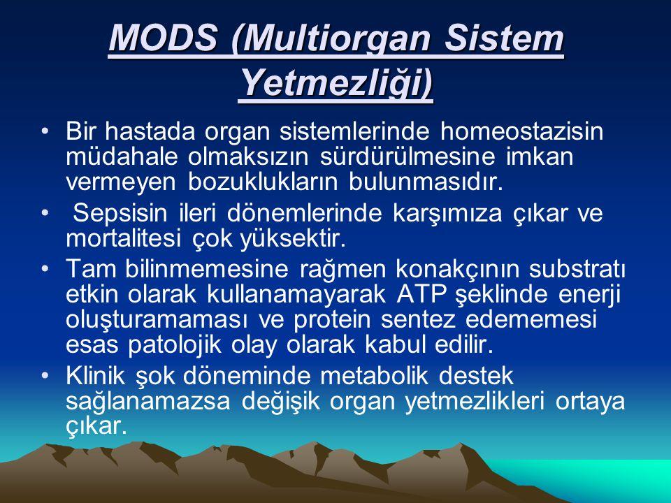 MODS (Multiorgan Sistem Yetmezliği) Bir hastada organ sistemlerinde homeostazisin müdahale olmaksızın sürdürülmesine imkan vermeyen bozuklukların bulu