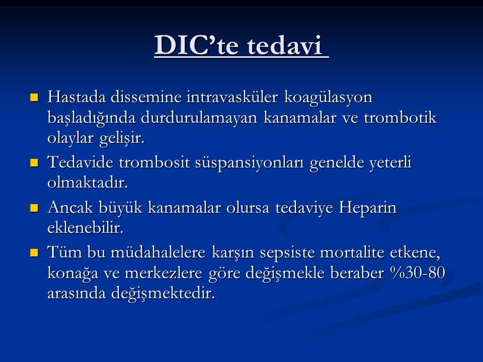 DIC'te tedavi DIC'te tedavi Hastada dissemine intravasküler koagülasyon başladığında durdurulamayan kanamalar ve trombotik olaylar gelişir. Hastada di
