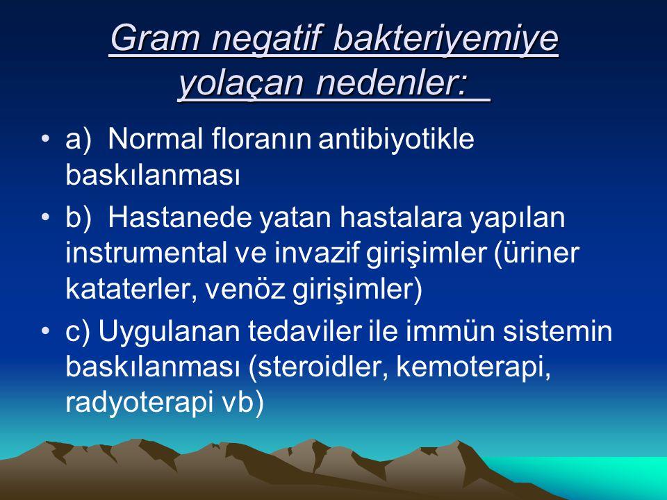 Gram negatif bakteriyemiye yolaçan nedenler: Gram negatif bakteriyemiye yolaçan nedenler: a) Normal floranın antibiyotikle baskılanması b) Hastanede yatan hastalara yapılan instrumental ve invazif girişimler (üriner kataterler, venöz girişimler) c) Uygulanan tedaviler ile immün sistemin baskılanması (steroidler, kemoterapi, radyoterapi vb)