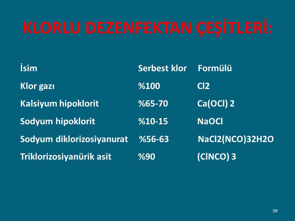 KLORLU DEZENFEKTAN ÇEŞİTLERİ: İsim Serbest klor Formülü Klor gazı %100 Cl2 Kalsiyum hipoklorit %65-70 Ca(OCl) 2 Sodyum hipoklorit %10-15 NaOCl Sodyum
