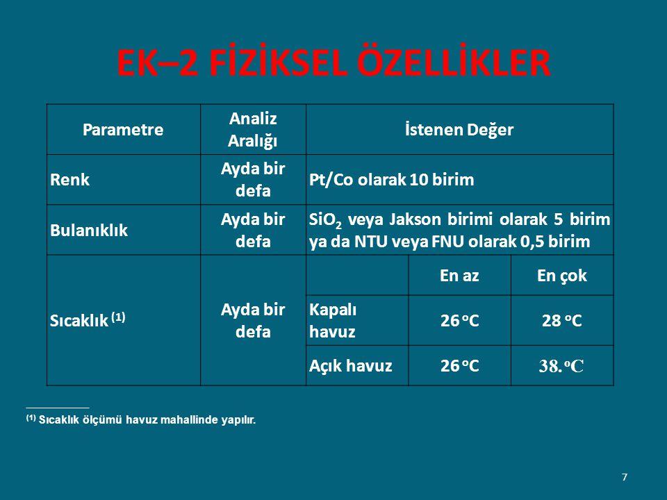 EK–2 FİZİKSEL ÖZELLİKLER _______________ (1) Sıcaklık ölçümü havuz mahallinde yapılır. Parametre Analiz Aralığı İstenen Değer Renk Ayda bir defa Pt/Co