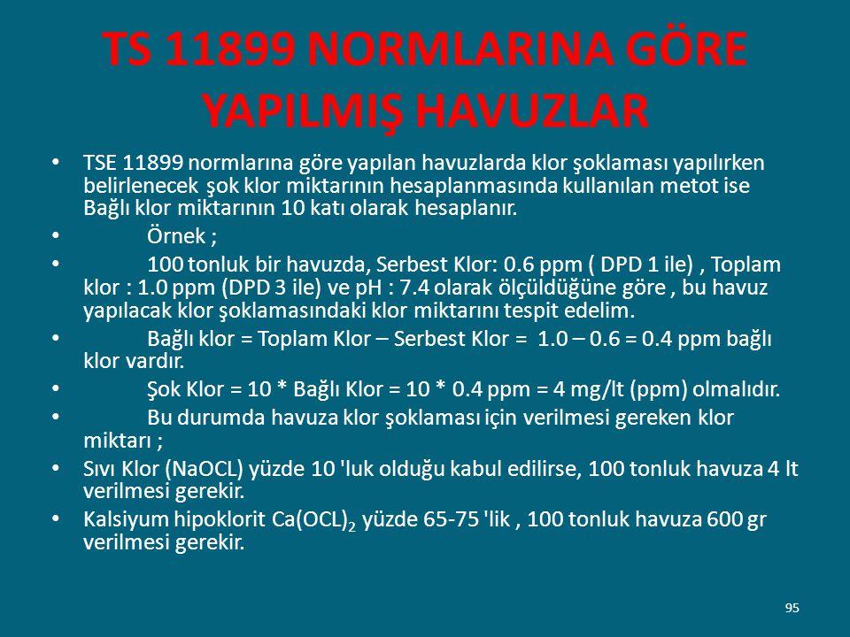 TS 11899 NORMLARINA GÖRE YAPILMIŞ HAVUZLAR TSE 11899 normlarına göre yapılan havuzlarda klor şoklaması yapılırken belirlenecek şok klor miktarının hes