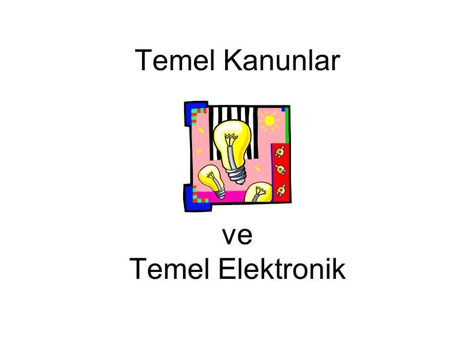 Ohm Kanunu Akım = Gerilim / Direnç I = V / R V = I x R Tanımlamalar: Gerilim (V) = Enerji / Elek.Yük, [joule/culomb] veya [volt] Akım (I) = Elek.Yük / Zaman, [culomb/sn] veya [amper] Direnç (R) = Gerilim / Akım, [volt/amper] veya [Ohm] Örnek: Bir direnç üzerinden bir akım geçtiğinde üzerinde oluşan gerilim düşümü V 1 - V 2 = I R I R V1V1 V2V2