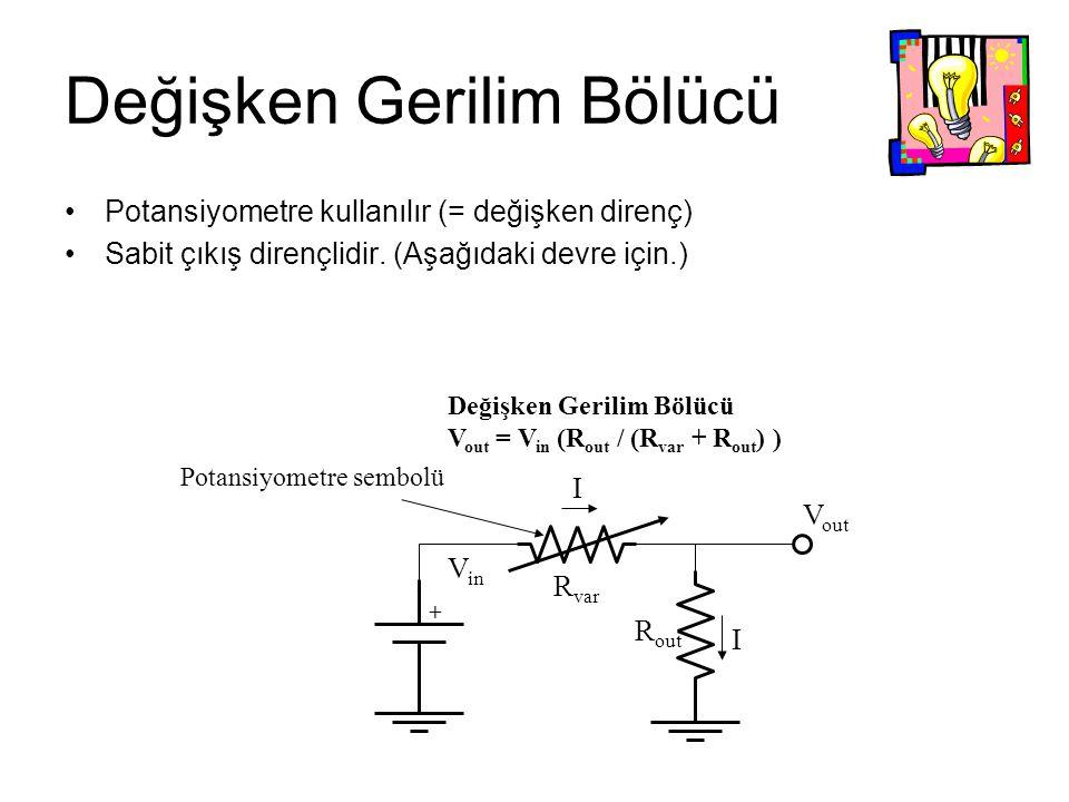Değişken Gerilim Bölücü Potansiyometre kullanılır (= değişken direnç) Sabit çıkış dirençlidir. (Aşağıdaki devre için.) + V in R var R out I I V out De