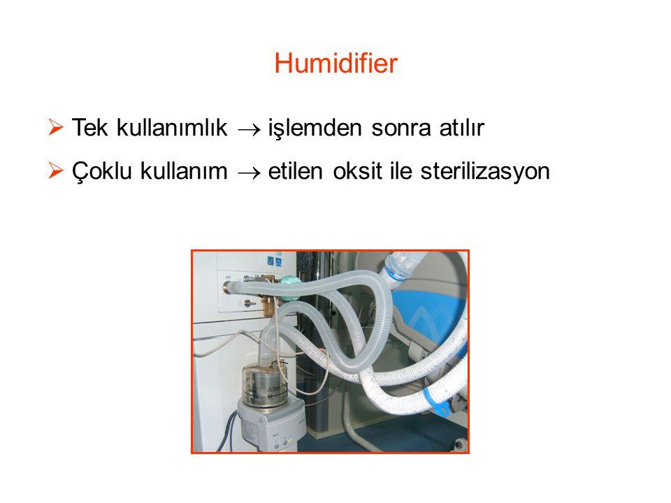 Humidifier  Tek kullanımlık  işlemden sonra atılır  Çoklu kullanım  etilen oksit ile sterilizasyon