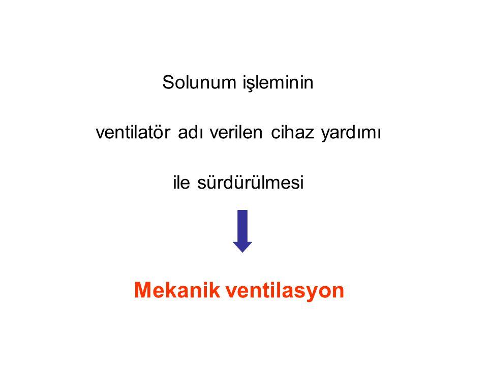 Solunum işleminin ventilatör adı verilen cihaz yardımı ile sürdürülmesi Mekanik ventilasyon