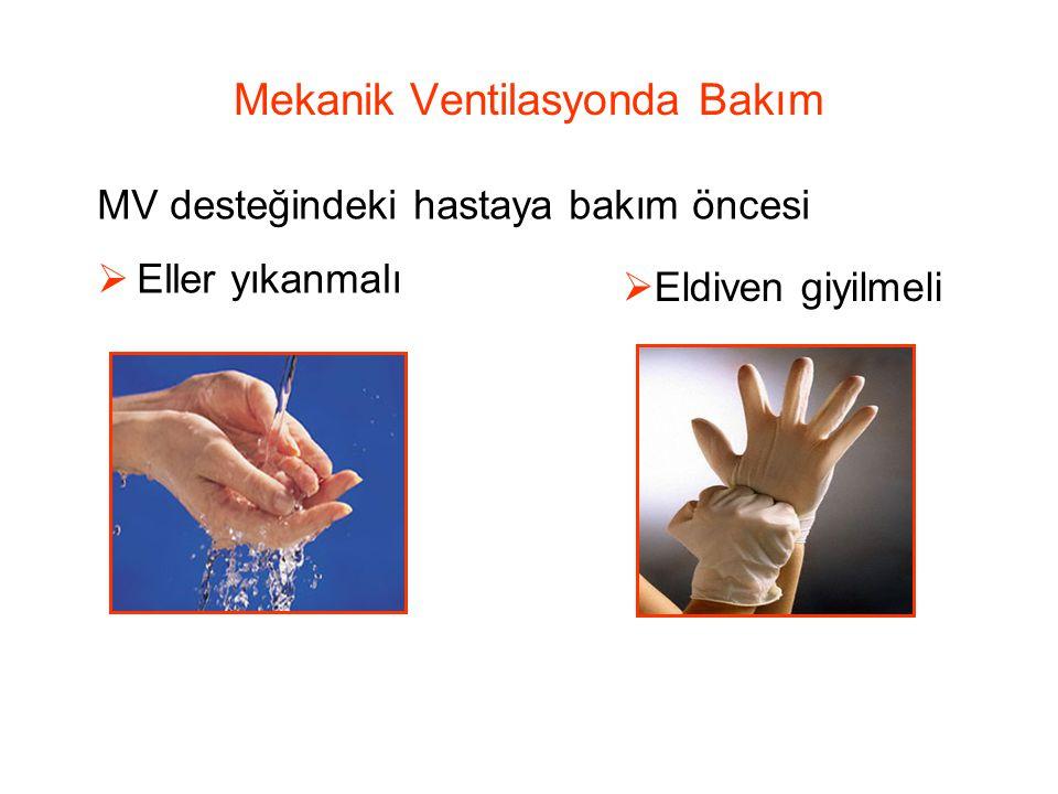 Mekanik Ventilasyonda Bakım MV desteğindeki hastaya bakım öncesi  Eller yıkanmalı  Eldiven giyilmeli