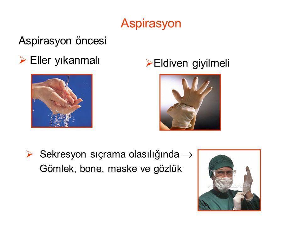 Aspirasyon  Sekresyon sıçrama olasılığında  Gömlek, bone, maske ve gözlük Aspirasyon öncesi  Eller yıkanmalı  Eldiven giyilmeli
