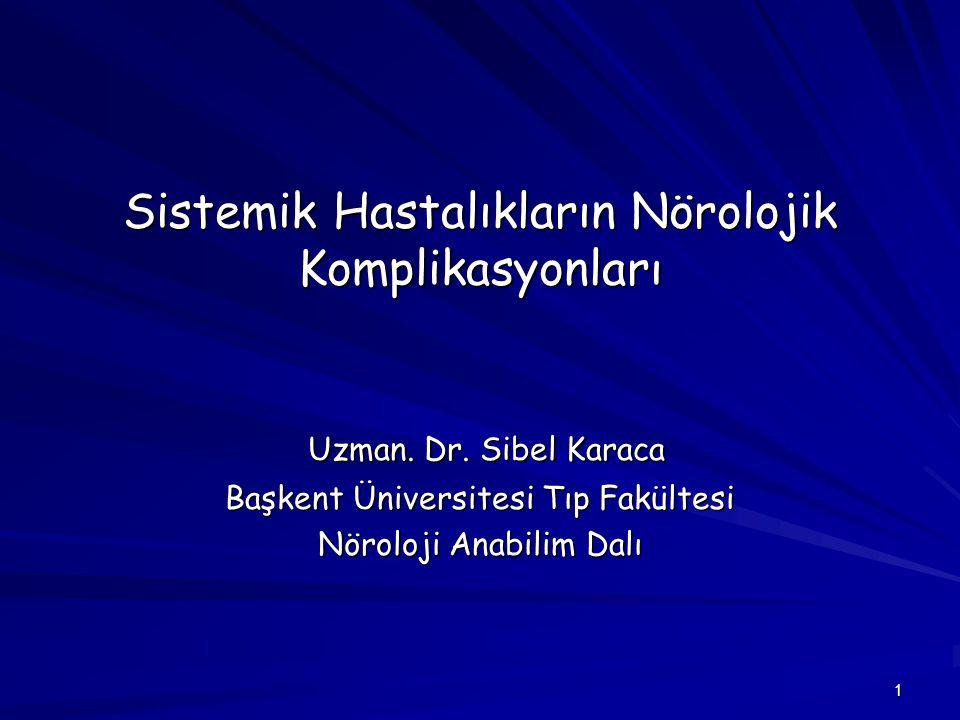 1 Sistemik Hastalıkların Nörolojik Komplikasyonları Uzman. Dr. Sibel Karaca Uzman. Dr. Sibel Karaca Başkent Üniversitesi Tıp Fakültesi Nöroloji Anabil