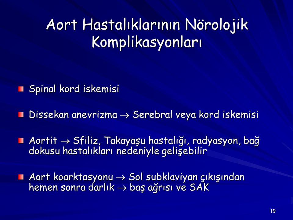 19 Aort Hastalıklarının Nörolojik Komplikasyonları Spinal kord iskemisi Dissekan anevrizma  Serebral veya kord iskemisi Aortit  Sfiliz, Takayaşu has
