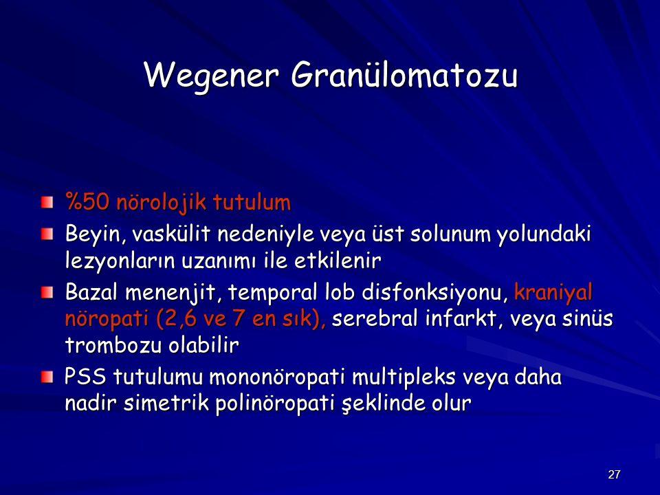 27 Wegener Granülomatozu %50 nörolojik tutulum Beyin, vaskülit nedeniyle veya üst solunum yolundaki lezyonların uzanımı ile etkilenir Bazal menenjit,