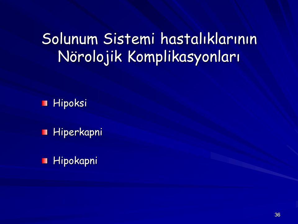 36 Solunum Sistemi hastalıklarının Nörolojik Komplikasyonları HipoksiHiperkapniHipokapni