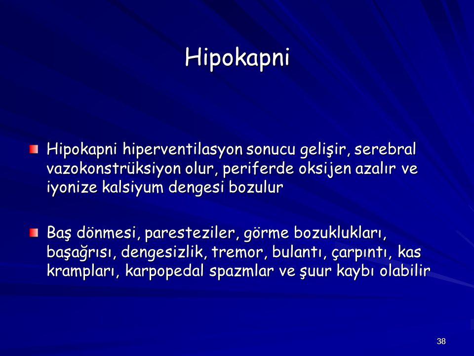 38 Hipokapni Hipokapni hiperventilasyon sonucu gelişir, serebral vazokonstrüksiyon olur, periferde oksijen azalır ve iyonize kalsiyum dengesi bozulur