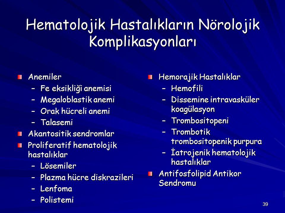 39 Hematolojik Hastalıkların Nörolojik Komplikasyonları Anemiler –Fe eksikliği anemisi –Megaloblastik anemi –Orak hücreli anemi –Talasemi Akantositik