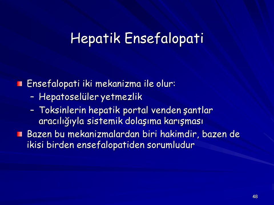 48 Hepatik Ensefalopati Ensefalopati iki mekanizma ile olur: –Hepatoselüler yetmezlik –Toksinlerin hepatik portal venden şantlar aracılığıyla sistemik