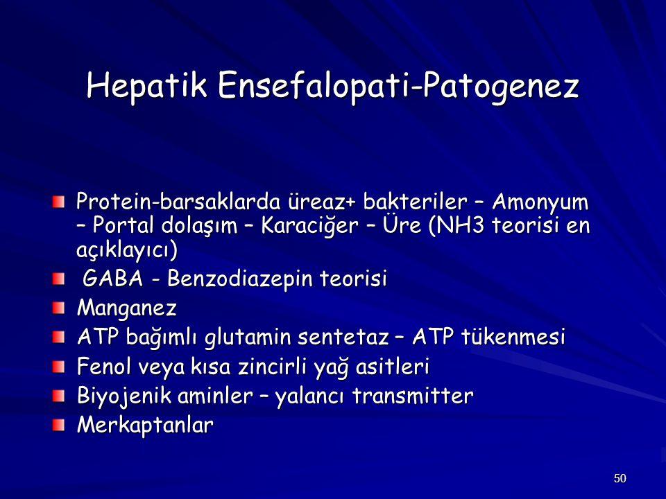 50 Hepatik Ensefalopati-Patogenez Protein-barsaklarda üreaz+ bakteriler – Amonyum – Portal dolaşım – Karaciğer – Üre (NH3 teorisi en açıklayıcı) GABA