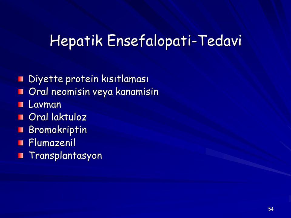 54 Hepatik Ensefalopati-Tedavi Diyette protein kısıtlaması Oral neomisin veya kanamisin Lavman Oral laktuloz BromokriptinFlumazenilTransplantasyon