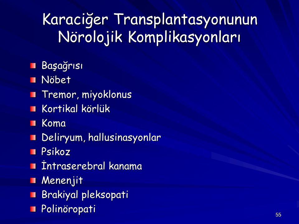 55 Karaciğer Transplantasyonunun Nörolojik Komplikasyonları BaşağrısıNöbet Tremor, miyoklonus Kortikal körlük Koma Deliryum, hallusinasyonlar Psikoz İ