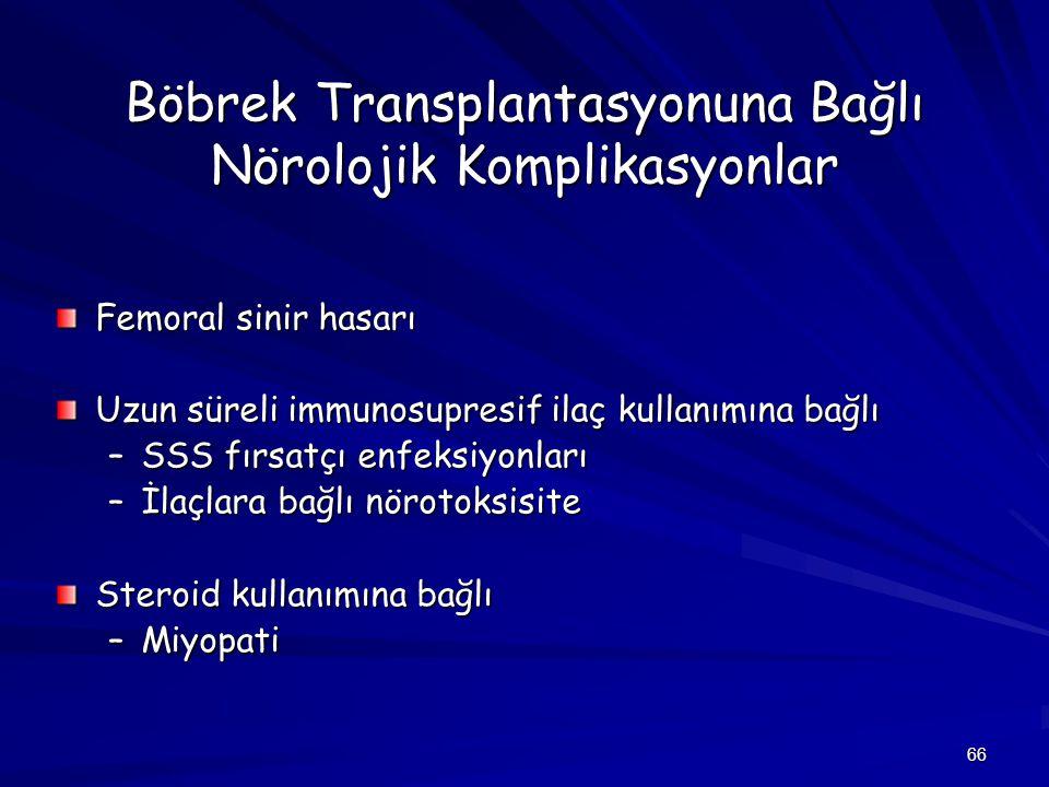 66 Böbrek Transplantasyonuna Bağlı Nörolojik Komplikasyonlar Femoral sinir hasarı Uzun süreli immunosupresif ilaç kullanımına bağlı –SSS fırsatçı enfe