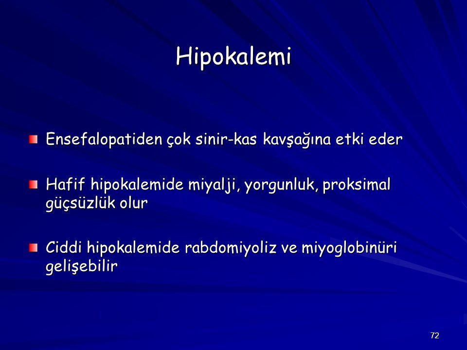 72 Hipokalemi Ensefalopatiden çok sinir-kas kavşağına etki eder Hafif hipokalemide miyalji, yorgunluk, proksimal güçsüzlük olur Ciddi hipokalemide rab