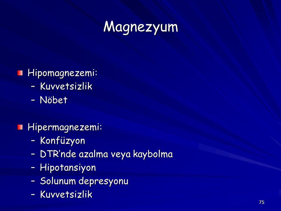 75 Magnezyum Hipomagnezemi: –Kuvvetsizlik –Nöbet Hipermagnezemi: –Konfüzyon –DTR'nde azalma veya kaybolma –Hipotansiyon –Solunum depresyonu –Kuvvetsiz