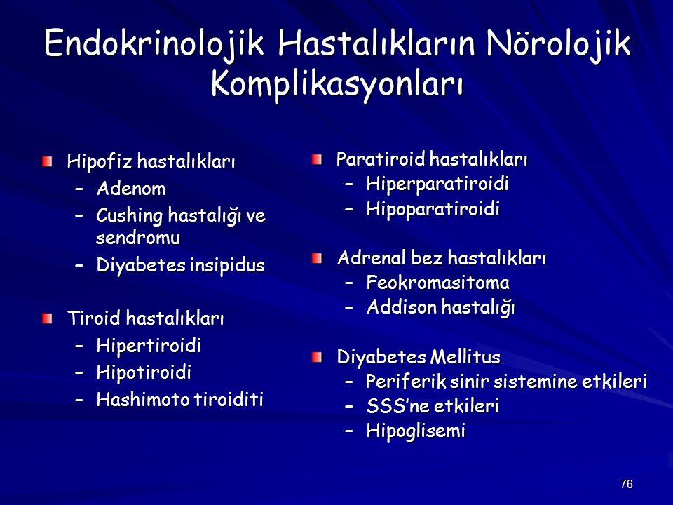 76 Endokrinolojik Hastalıkların Nörolojik Komplikasyonları Hipofiz hastalıkları –Adenom –Cushing hastalığı ve sendromu –Diyabetes insipidus Tiroid has