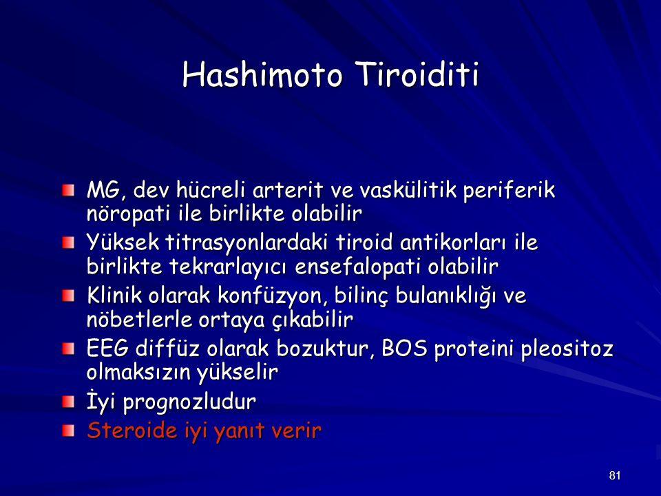 81 Hashimoto Tiroiditi MG, dev hücreli arterit ve vaskülitik periferik nöropati ile birlikte olabilir Yüksek titrasyonlardaki tiroid antikorları ile b