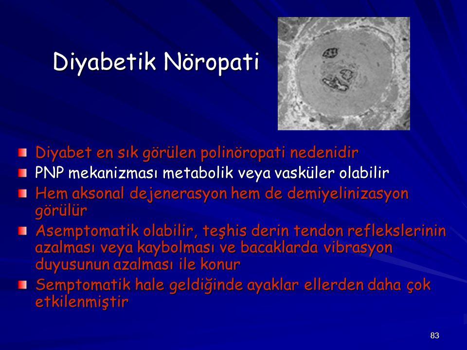 83 Diyabetik Nöropati Diyabet en sık görülen polinöropati nedenidir PNP mekanizması metabolik veya vasküler olabilir Hem aksonal dejenerasyon hem de d
