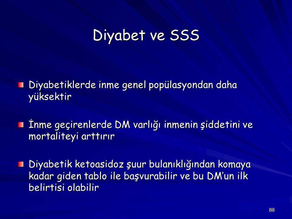 88 Diyabet ve SSS Diyabetiklerde inme genel popülasyondan daha yüksektir İnme geçirenlerde DM varlığı inmenin şiddetini ve mortaliteyi arttırır Diyabe