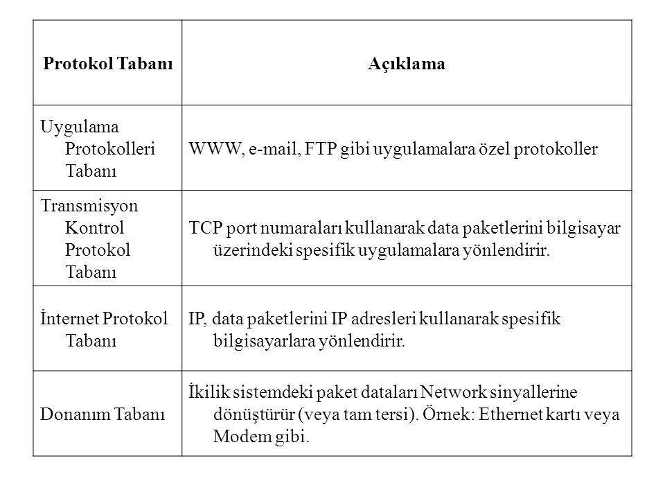 Protokol TabanıAçıklama Uygulama Protokolleri Tabanı WWW, e-mail, FTP gibi uygulamalara özel protokoller Transmisyon Kontrol Protokol Tabanı TCP port