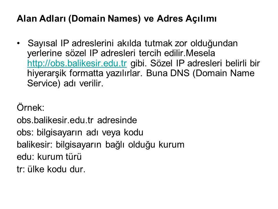 Alan Adları (Domain Names) ve Adres Açılımı Sayısal IP adreslerini akılda tutmak zor olduğundan yerlerine sözel IP adresleri tercih edilir.Mesela http