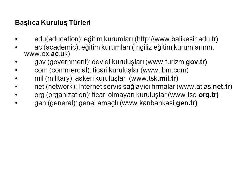 Başlıca Kuruluş Türleri edu(education): eğitim kurumları (http://www.balikesir.edu.tr) ac (academic): eğitim kurumları (İngiliz eğitim kurumlarının, w
