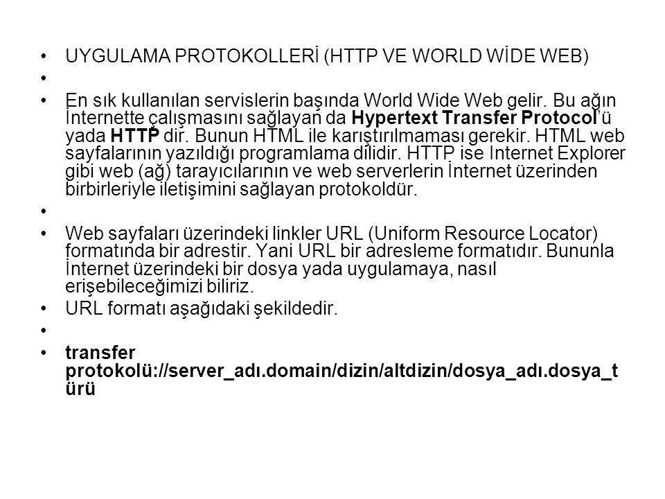 UYGULAMA PROTOKOLLERİ (HTTP VE WORLD WİDE WEB) En sık kullanılan servislerin başında World Wide Web gelir. Bu ağın İnternette çalışmasını sağlayan da