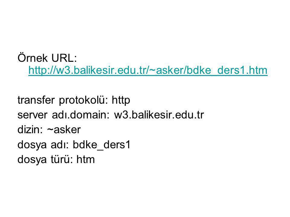 Örnek URL: http://w3.balikesir.edu.tr/~asker/bdke_ders1.htm http://w3.balikesir.edu.tr/~asker/bdke_ders1.htm transfer protokolü: http server adı.domai