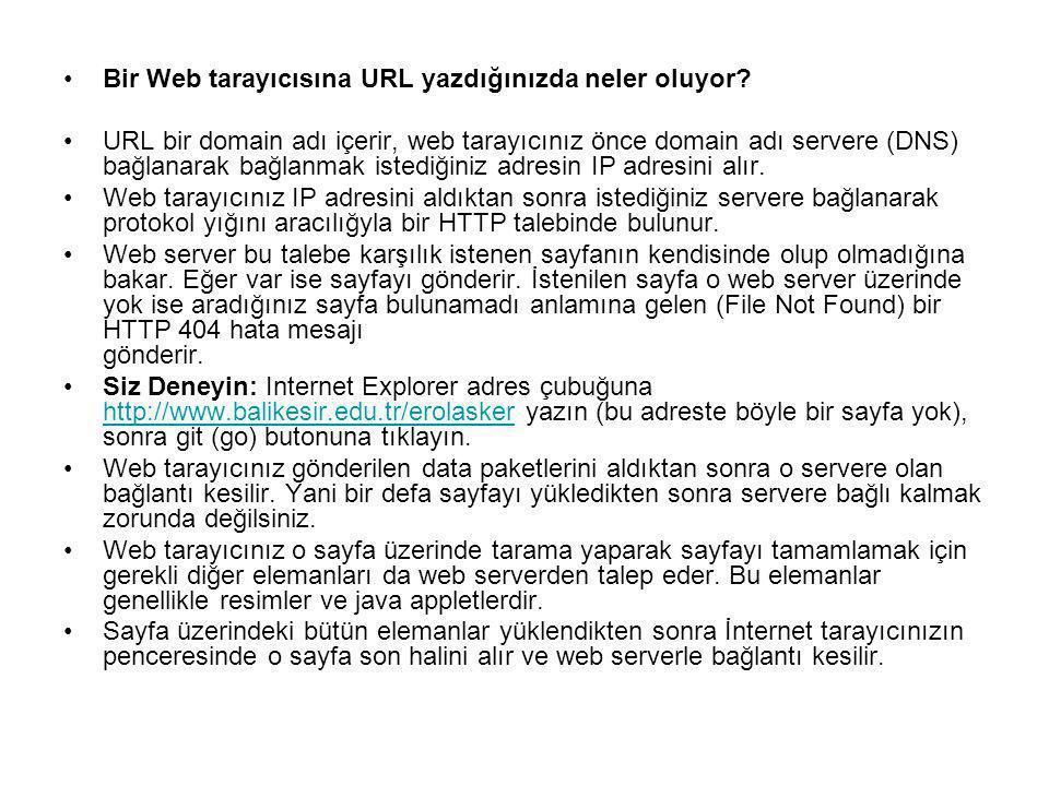 Bir Web tarayıcısına URL yazdığınızda neler oluyor? URL bir domain adı içerir, web tarayıcınız önce domain adı servere (DNS) bağlanarak bağlanmak iste