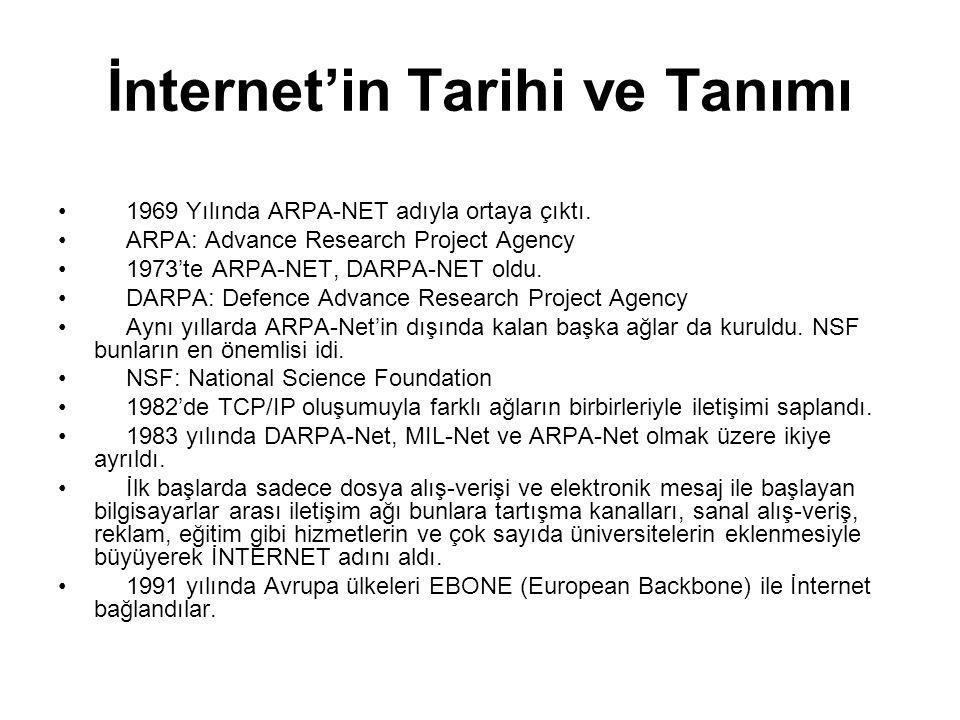 İnternet'in Tarihi ve Tanımı 1969 Yılında ARPA-NET adıyla ortaya çıktı. ARPA: Advance Research Project Agency 1973'te ARPA-NET, DARPA-NET oldu. DARPA: