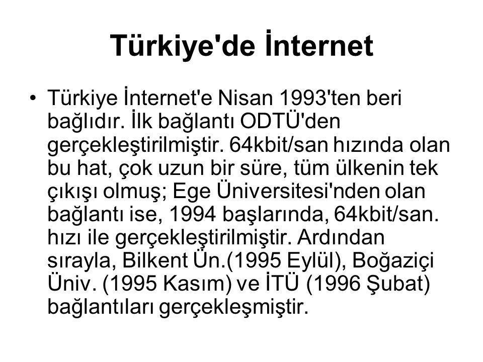 Türkiye'de İnternet Türkiye İnternet'e Nisan 1993'ten beri bağlıdır. İlk bağlantı ODTÜ'den gerçekleştirilmiştir. 64kbit/san hızında olan bu hat, çok u