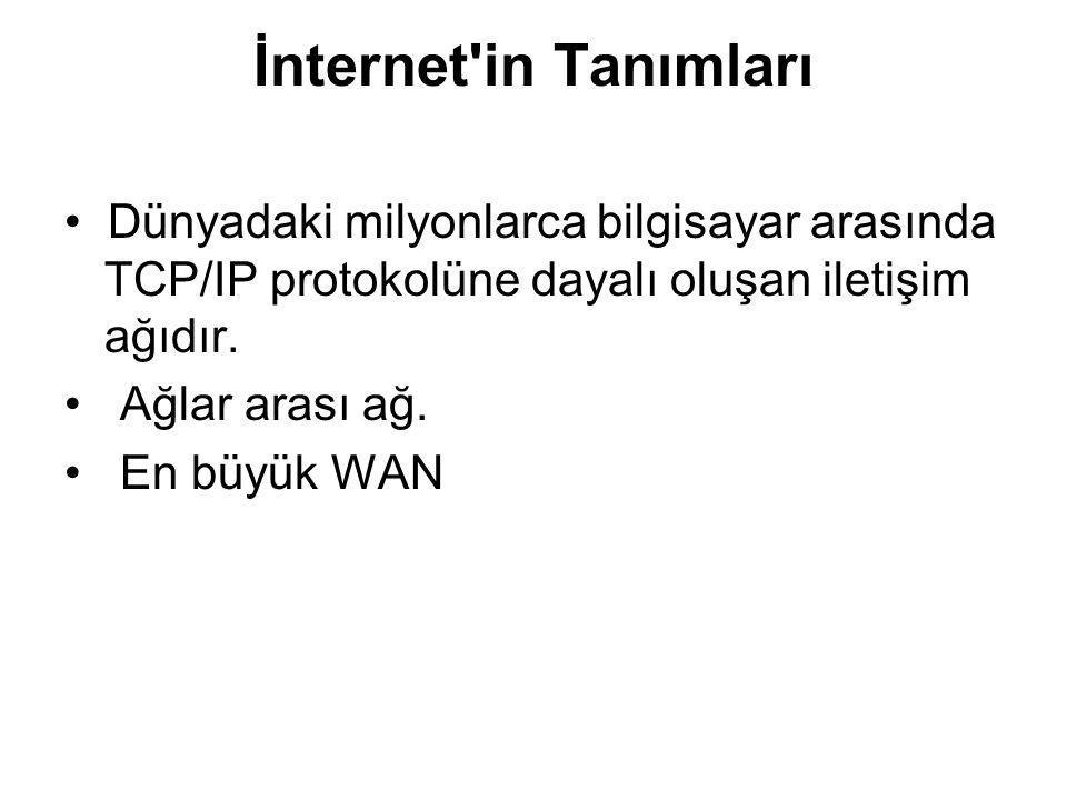 İnternet'in Tanımları Dünyadaki milyonlarca bilgisayar arasında TCP/IP protokolüne dayalı oluşan iletişim ağıdır. Ağlar arası ağ. En büyük WAN
