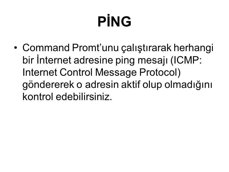 PİNG Command Promt'unu çalıştırarak herhangi bir İnternet adresine ping mesajı (ICMP: Internet Control Message Protocol) göndererek o adresin aktif ol