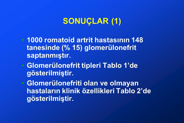SONUÇLAR (2) Tablo 1 ve 2'yi aynen tekrarlamamak gerekir, sadece önemli ve çarpıcı olanlar yeniden vurgulanabilir.