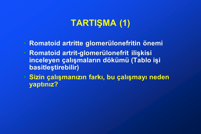 TARTIŞMA (2) Çalışmanızın farkı (1) Bu konuda yapılmış en çok RA'li hasta içeren çalışma.