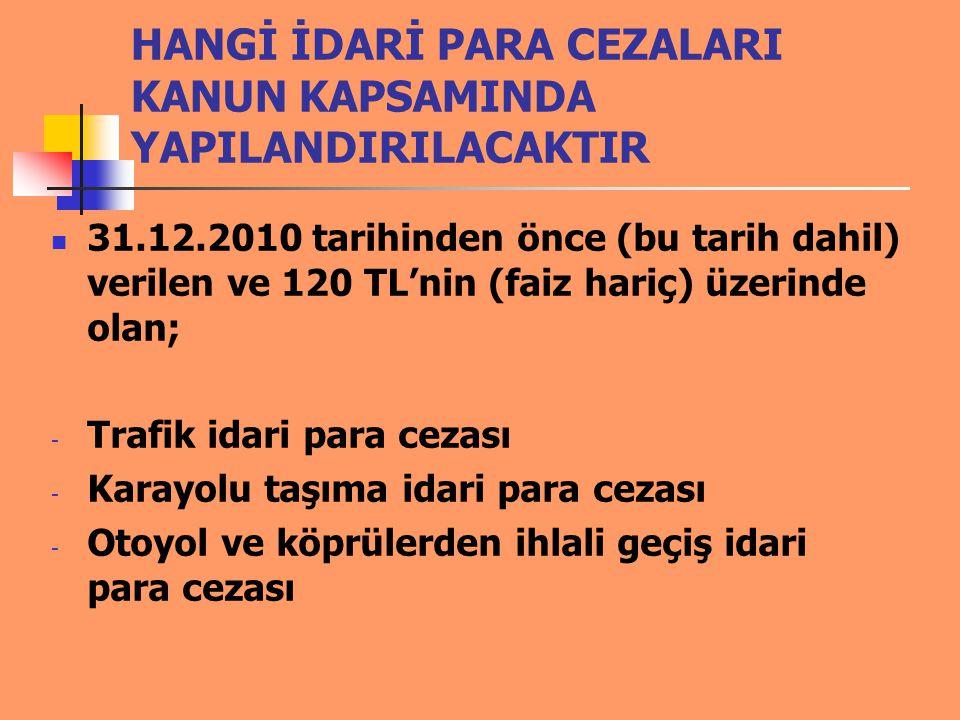 HANGİ İDARİ PARA CEZALARI KANUN KAPSAMINDA YAPILANDIRILACAKTIR 31.12.2010 tarihinden önce (bu tarih dahil) verilen ve 120 TL'nin (faiz hariç) üzerinde