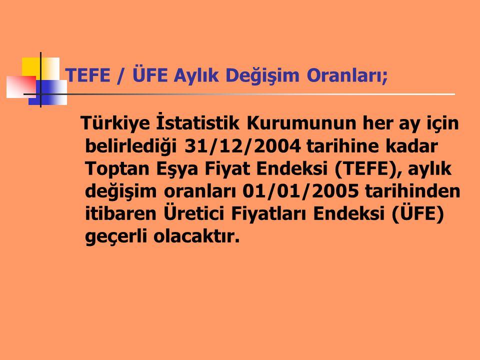 TEFE / ÜFE Aylık Değişim Oranları; Türkiye İstatistik Kurumunun her ay için belirlediği 31/12/2004 tarihine kadar Toptan Eşya Fiyat Endeksi (TEFE), ay