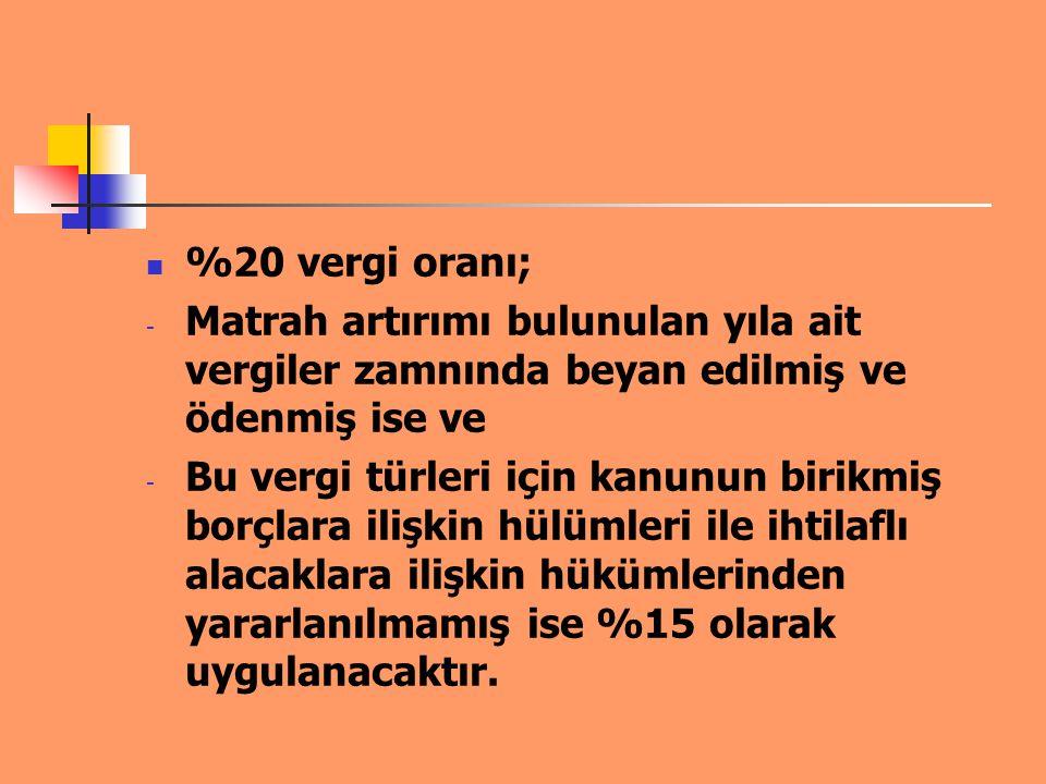 ÖRNEK 1 : Matrah Artırımı Mükellef 2008 yılında 97.000 TL kâr beyan etmiştir.