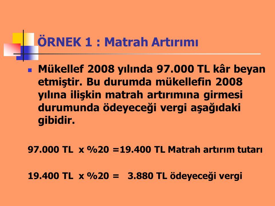 ÖRNEK 1 : Matrah Artırımı Mükellef 2008 yılında 97.000 TL kâr beyan etmiştir. Bu durumda mükellefin 2008 yılına ilişkin matrah artırımına girmesi duru