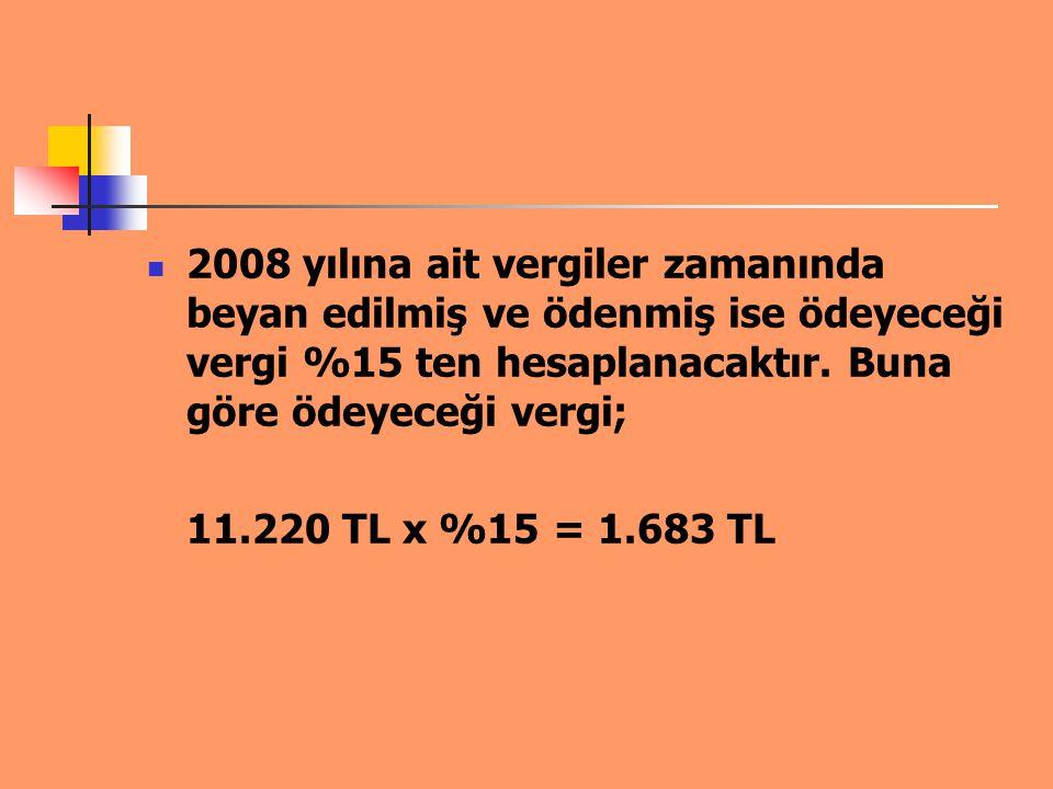 2008 yılına ait vergiler zamanında beyan edilmiş ve ödenmiş ise ödeyeceği vergi %15 ten hesaplanacaktır. Buna göre ödeyeceği vergi; 11.220 TL x %15 =