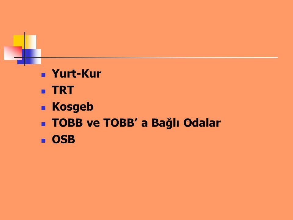 Yurt-Kur TRT Kosgeb TOBB ve TOBB' a Bağlı Odalar OSB